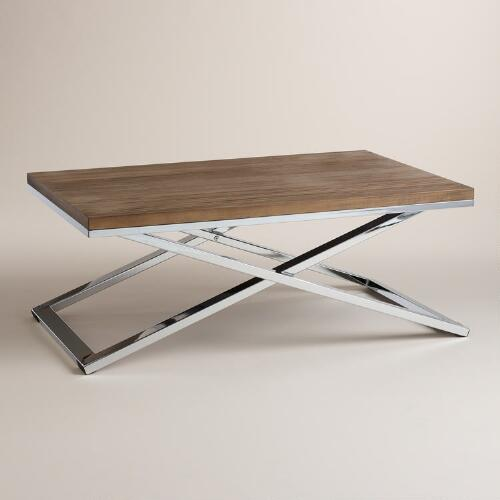 Wood and Chrome Pierceson Coffee Table