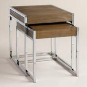 Wood and Chrome Pierceson Nesting Tables, Set of 2