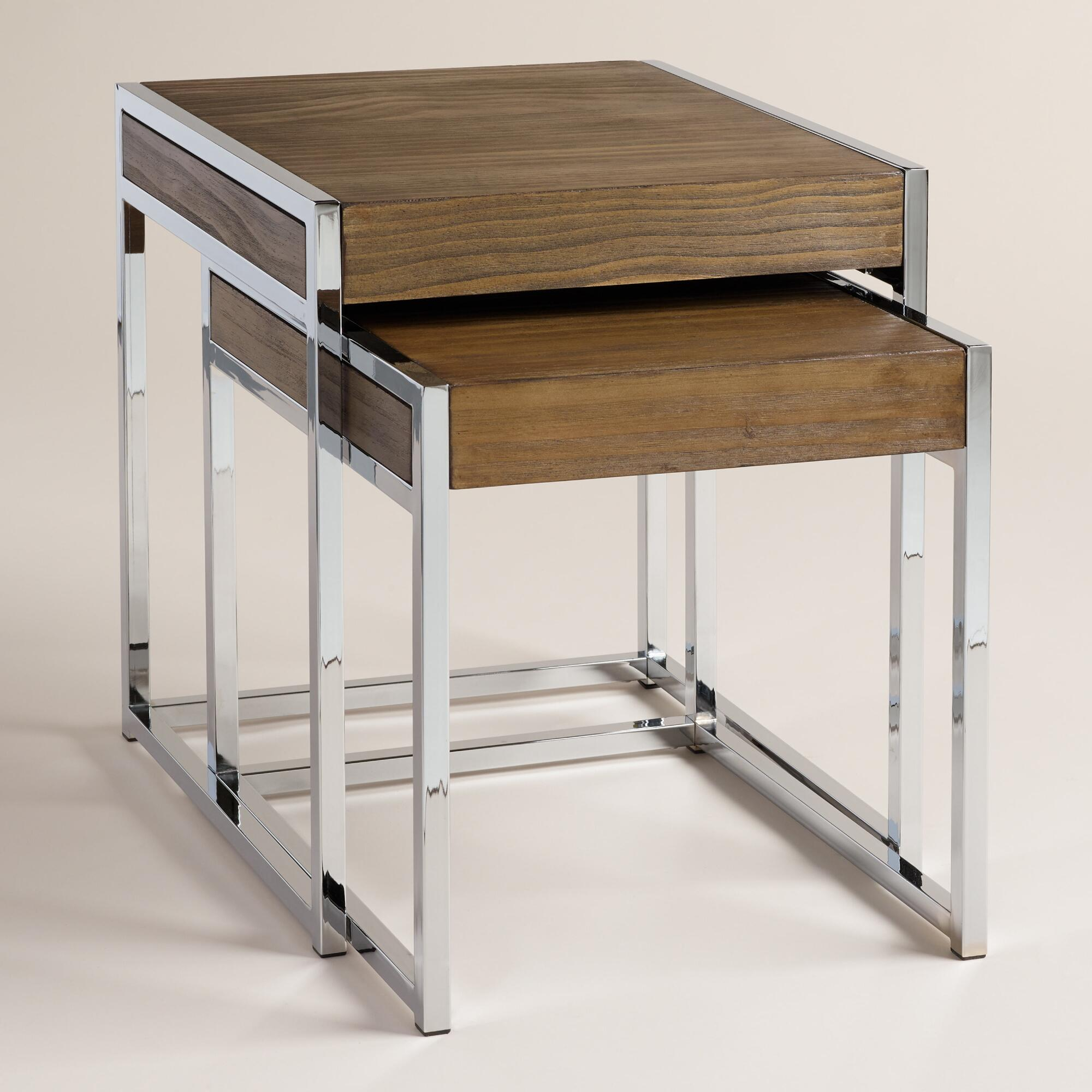 Wood And Chrome Pierceson Nesting Tables Set Of 2 World Market. Full resolution  portraiture, nominally Width 2000 Height 2000 pixels, portraiture with #654B32.