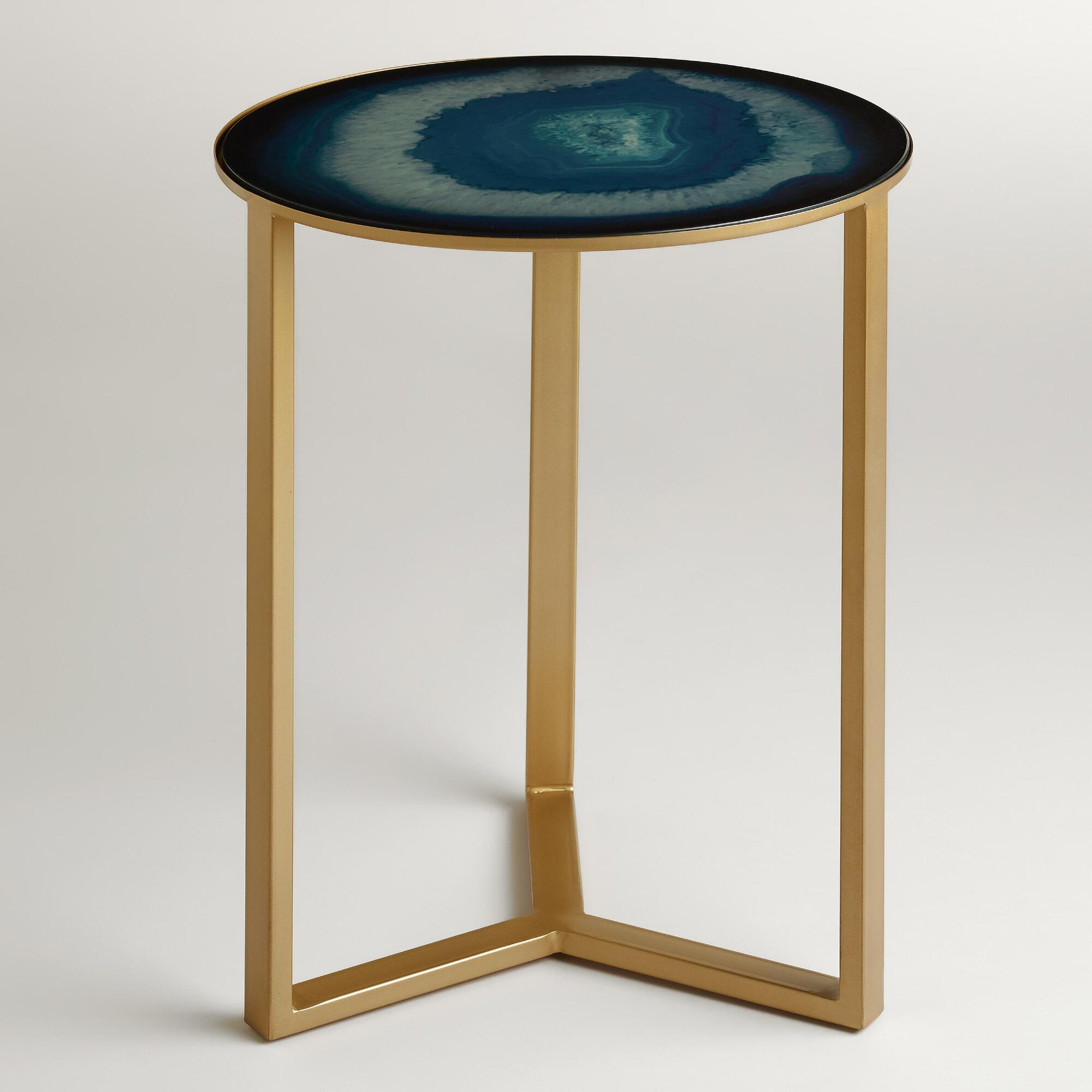 Sapphire harbin accent table world market for Geode side table