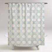 Blue Geo Tile Shower Curtain