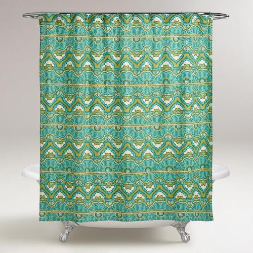 Sea Blue Clementine Shower Curtain