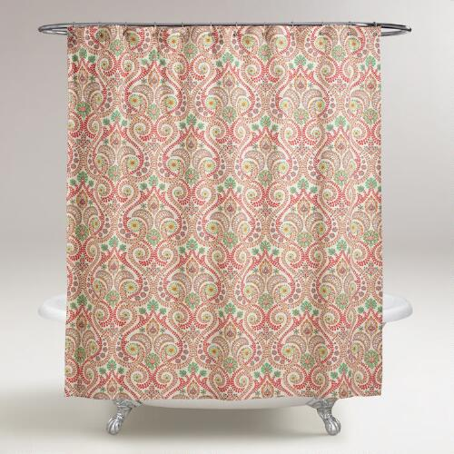 Coral Treetop Shower Curtain