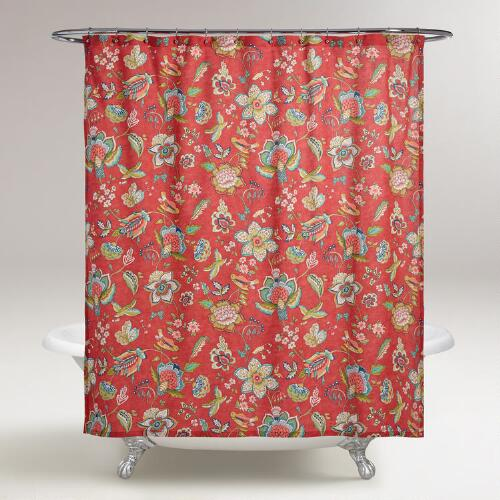 Coral Floral Natasha Shower Curtain