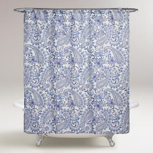 Blue Paisley Navodari Shower Curtain