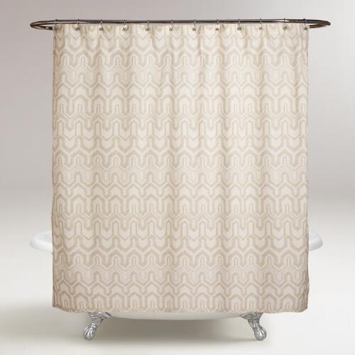 Ivory and Sand Greer Shower Curtain