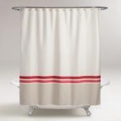 Ivory and Coral Hamam Stripe Shower Curtain