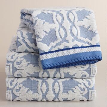 Mediterranean Blue Arden Tile Sculpted Towel Collection