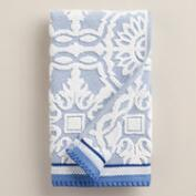 Mediterranean Blue Arden Tile Sculpted Hand Towel