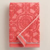 Coral Arden Tile Sculpted Bath Towel