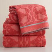 Coral Arden Tile Sculpted Towel Collection