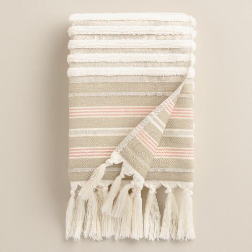 Sand French Stripe Sculpted Hand Towel