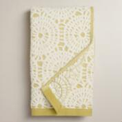 Moss Green Lydia Medallion Sculpted Hand Towel