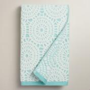 Porcelain Blue Lydia Medallion Sculpted Bath Towel