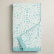 Porcelain Blue Lydia Medallion Sculpted Hand Towel