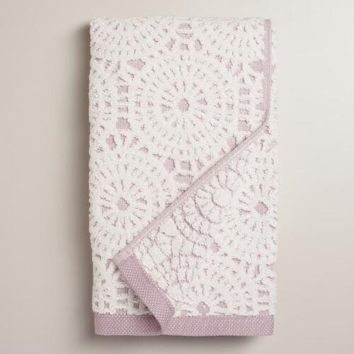 Lavender Lydia Medallion Sculpted Hand Towel