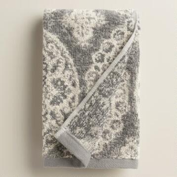 Frost Gray Vivienne Jacquard Hand Towel