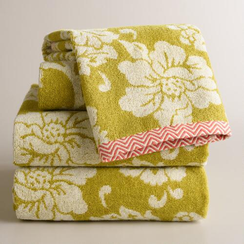 Green Rosalie Jacquard Towel Collection