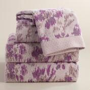 Lavender Ikat Floral Ilaria Jacquard Towel Collection
