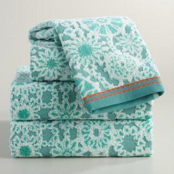 Sea Blue Cecily Medallion Sculpted Towel Collection