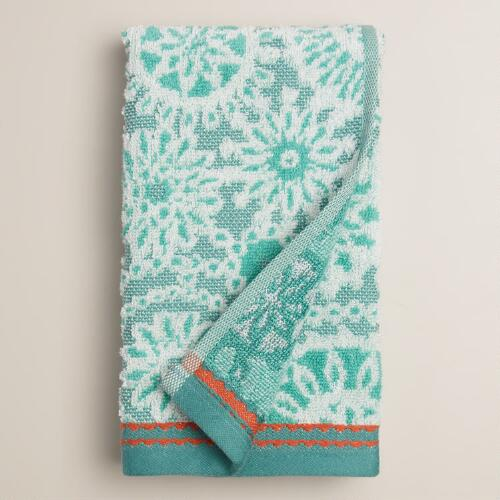 Sea Blue Cecily Medallion Sculpted Hand Towel