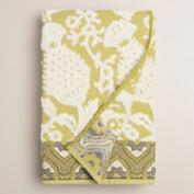 Moss and Ivory Thistle Sculpted Bath Towel