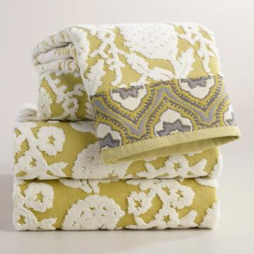 Moss and Ivory Thistle Sculpted Towel Collection