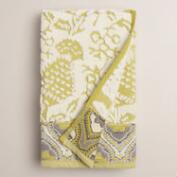 Moss and Ivory Thistle Sculpted Hand Towel