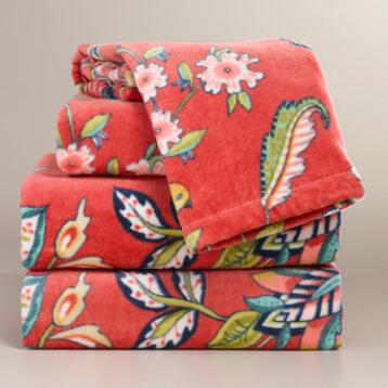 Coral Natasha Printed Towel Collection