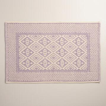 Lavender and Ivory Jacquard Bath Mat