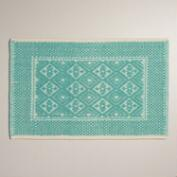 Sea Blue Contrast Jacquard Bath Mat