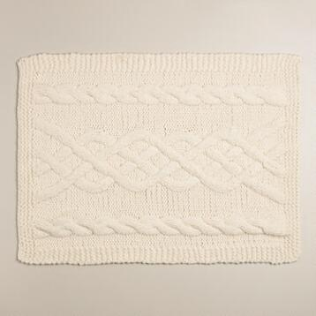 Ivory Cable Hand Knit Bath Mat