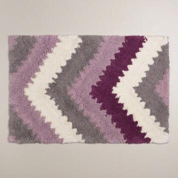 Lavender and Frost Gray Chevron Bath Mat