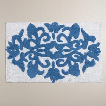 Mediterranean Blue and White Medallion Bath Mat