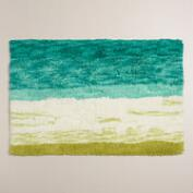 Sea Blue and Moss Ombre Tufted Bath Mat