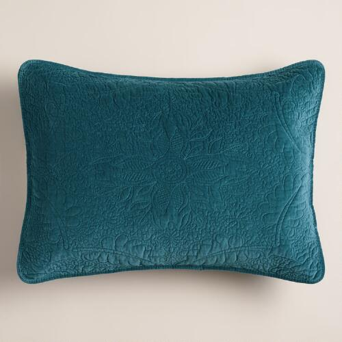 Midnight Blue Velvet Pillow Shams, Set of 2