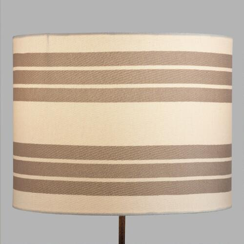 Taupe Stripe Drum Table Lamp Shade