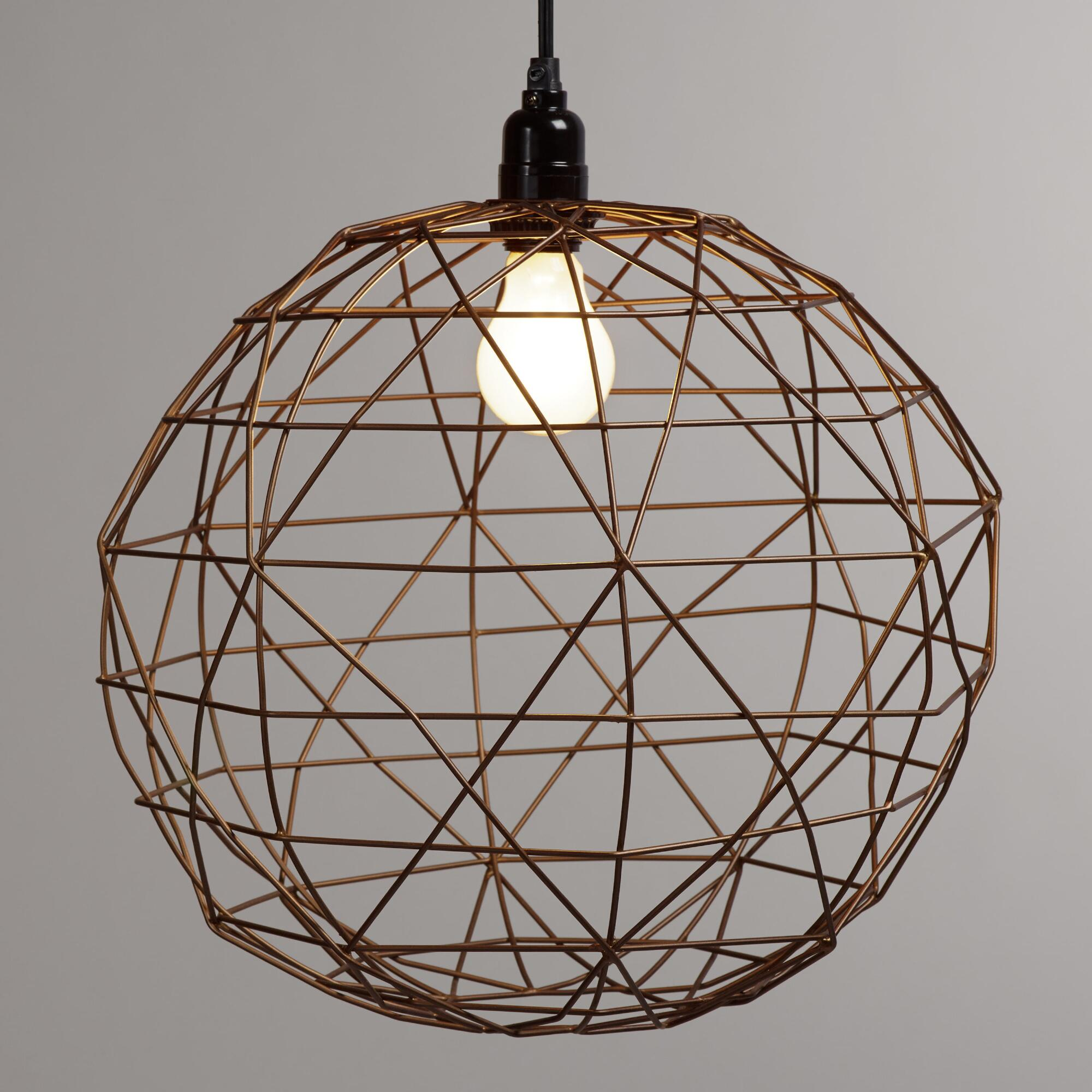 Hanging Light Round: Bronze Round Twisted Wire Pendant Shade