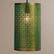 Brass and Turquoise Cylinder Laila Pendant Lamp