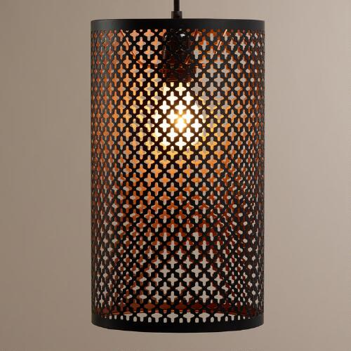 Black and Copper Cylinder Sofia Pendant Lamp