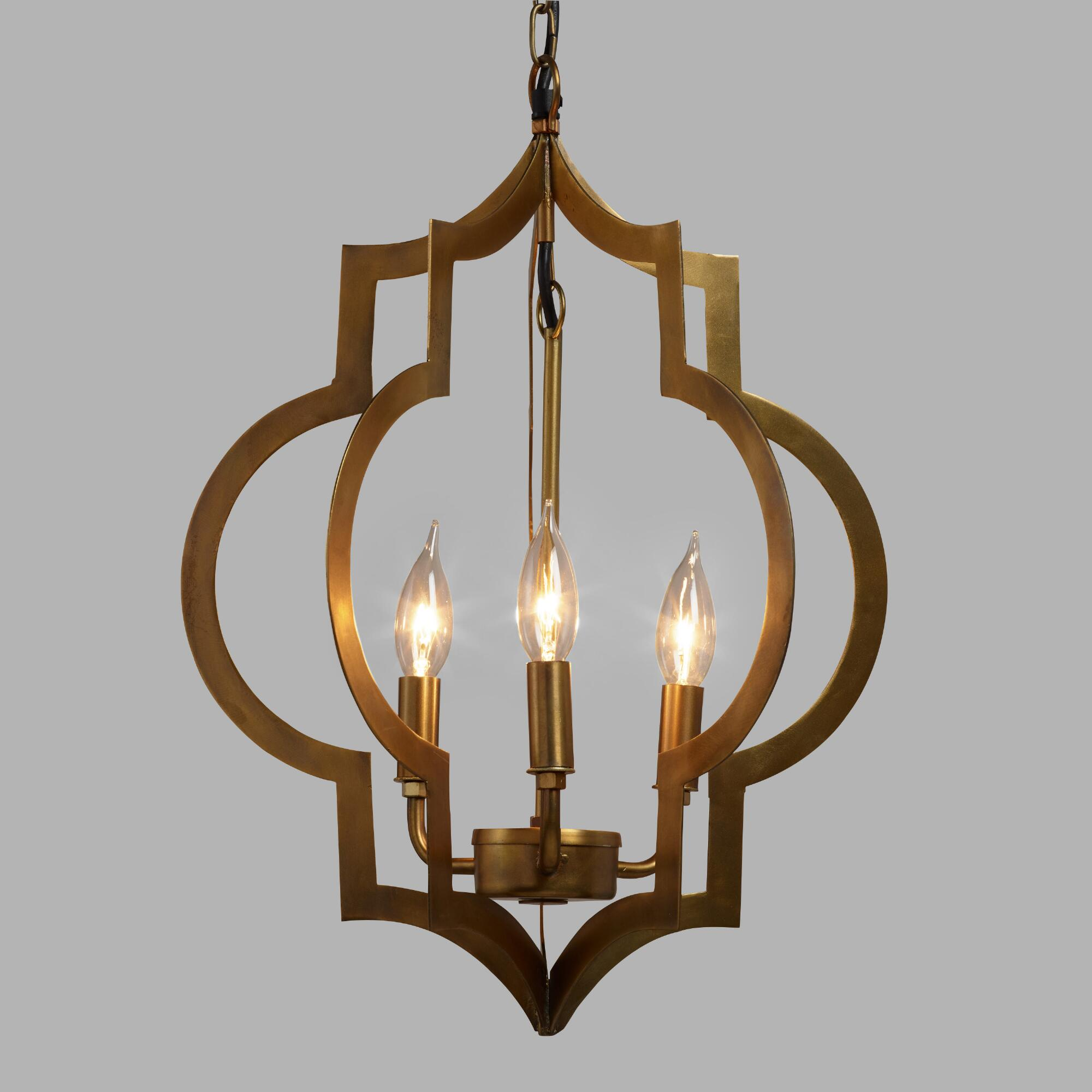 Gold quatrefoil 3 light pendant lamp world market - Light fixtures chandeliers ...