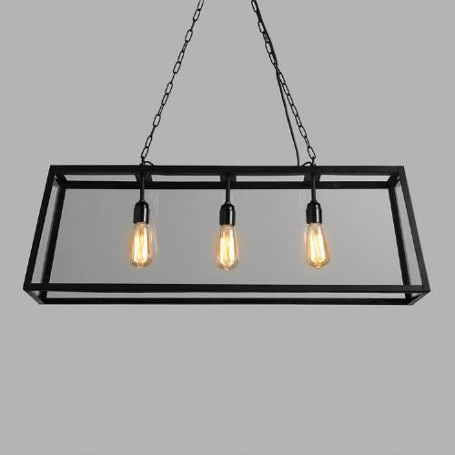 Rectangular 4-Sided Glass Pendant Lamp