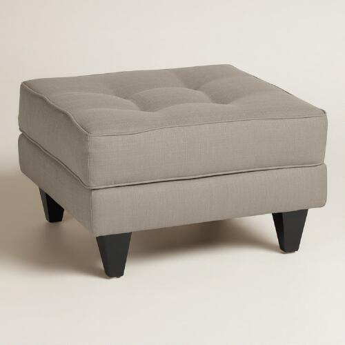 Textured Woven Bryson Upholstered Ottoman