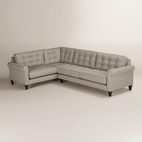 Textured Woven Bryson Right-Facing Upholstered Sectional