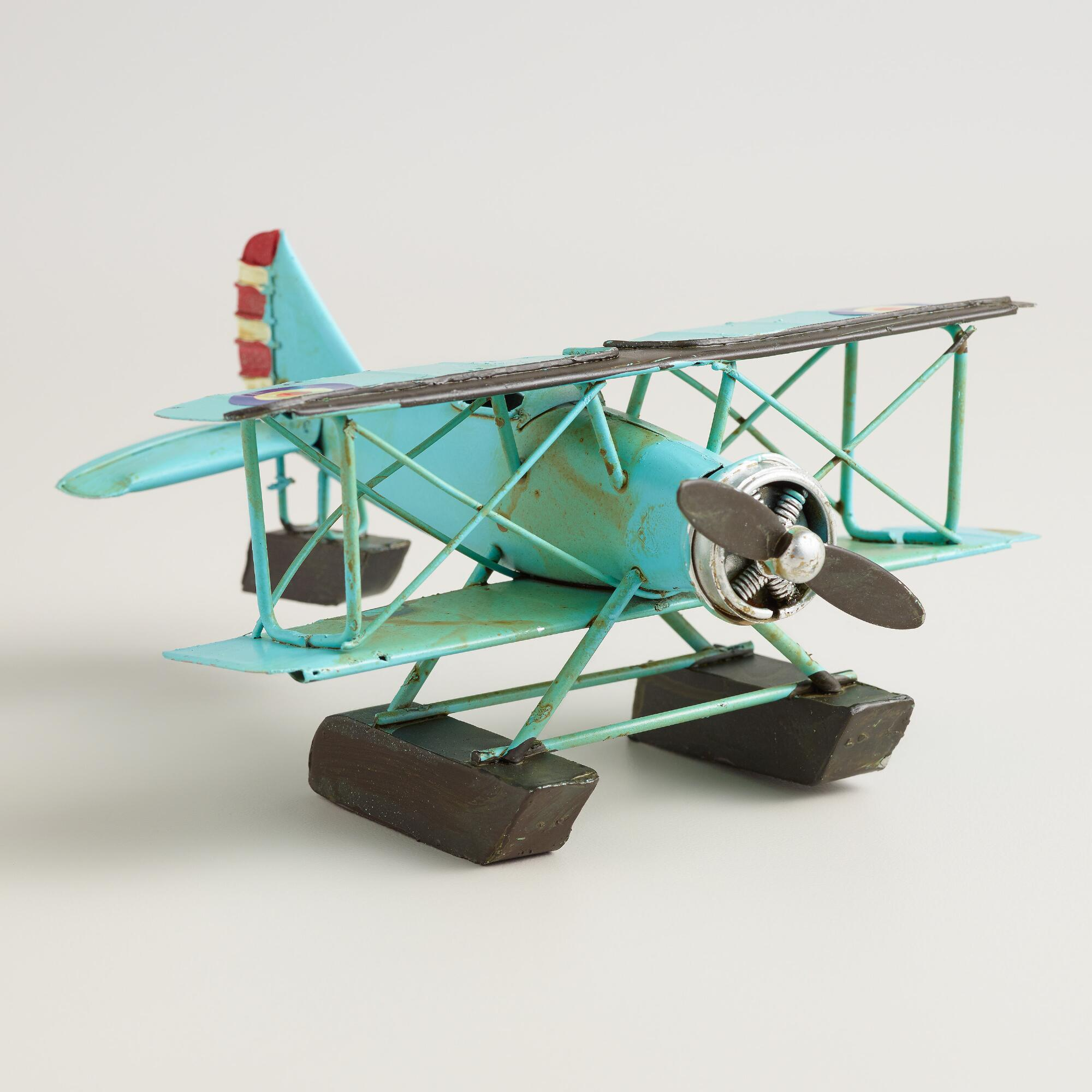 Metal vintage airplane decor world market for Airplane decoration