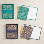 Handmade Paisley Print Boxed Notecards, Set of 8