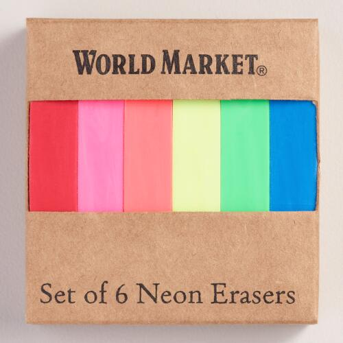 Neon Erasers, Set of 6