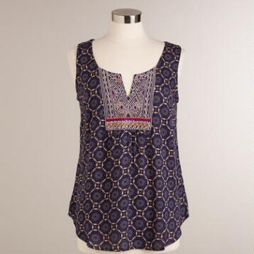 Blue Embroidered Marlowe Tank Top
