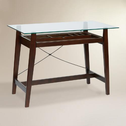 Glass and Wood Jay Desk