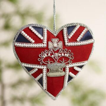 Beaded Fabric  British Heart Ornaments, Set of 2